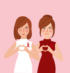 woman girl show support for cancer survivor red vector image