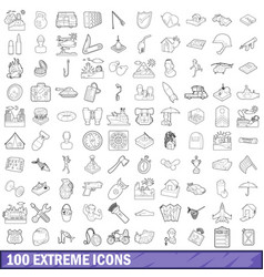 100 extreme icons set outline style vector image