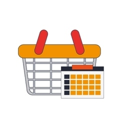 Shopping basket and calendar icon vector
