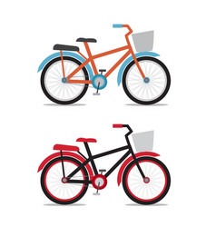bicycle with baskets in flat style vector image