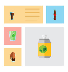 Flat icon soda set of fizzy drink cup beverage vector
