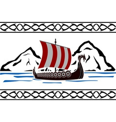 Stencil of viking ship vector