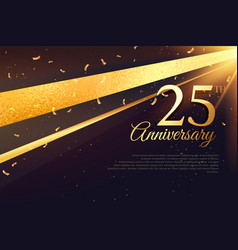 25th anniversary celebration card template vector