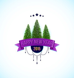Happy new year label with fir trees vector