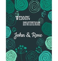 Green floral wedding invitation card vector image
