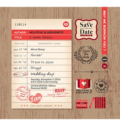 Library card creative wedding invitation design vector