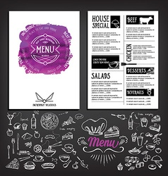 Food menu restaurant template design flyer cafe vector