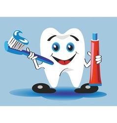 Tooth toothbrush and toothpaste vector
