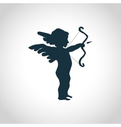 Cupid with bow silhouette vector