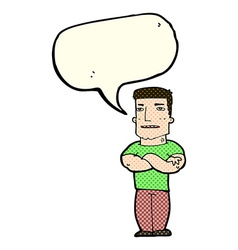 Cartoon tough guy with folded arms with speech vector