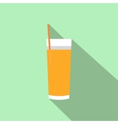 Glass with juice and straw flat icon vector