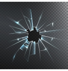 Broken Frosted Glass Realistic Icon vector image