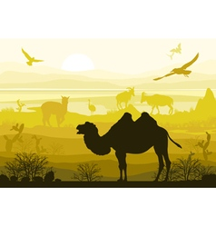 Nature wild animals camel goat ostrich alpaca vector