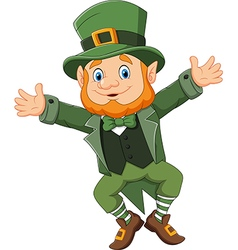 Cartoon happy leprechaun dancing vector