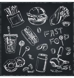 Fast food set sketches vintage for vector