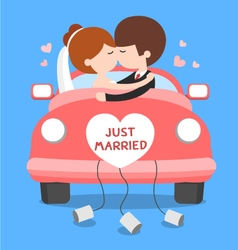 wedding couple in wedding car vector image
