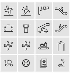 Line airport icon set vector