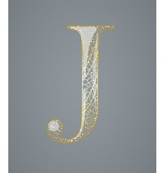 Abstract golden letter J vector image