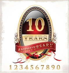Anniversary red and gold label vector image vector image