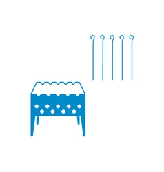 Brazier grill with skewers icon vector
