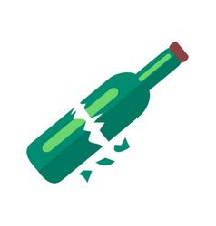 broken bottle of beer isolated vector image