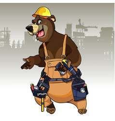 cartoon character bear dressed in the working vector image vector image