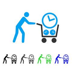 Clock shopping flat icon vector