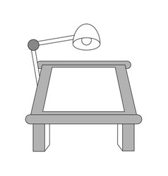 Color silhouette image cartoon drawing table with vector