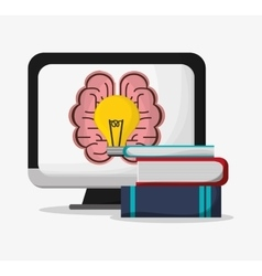 Computer brain bulb and books design vector