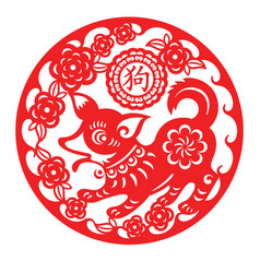 Dog lunar year ornament vector