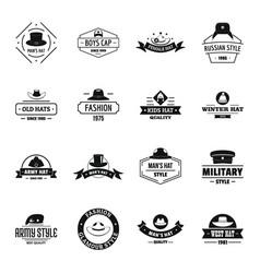 Headdress hat logo icons set simple style vector