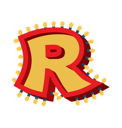 Letter r lamp glowing font vintage light bulb vector