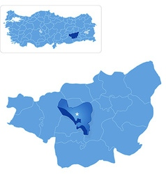 Map of diyarbakir - yenisehir is pulled out vector