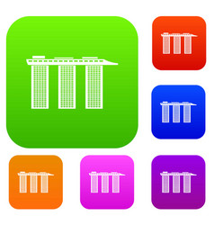 marina bay sands hotel singapore set collection vector image