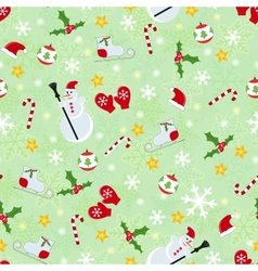 Seamless cute christmas pattern vector image vector image