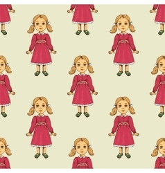 Seamless pattern with doll vector image vector image