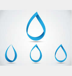 Set of abstract blue water drop vector