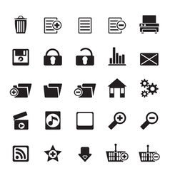 Silhouette 25 detailed internet icons vector