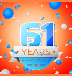 sixty one years anniversary celebration vector image vector image