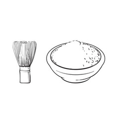 sketch bowl of mathca tea powder whisk vector image vector image