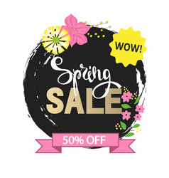 spring sale with beautiful hand drawn flowers vector image vector image