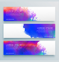 three watercolor background header banner design vector image