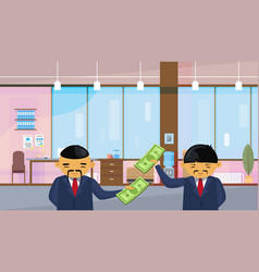 Two asian business men holding dollar banknotes vector
