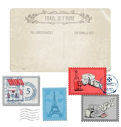 Vintage paris and france vector