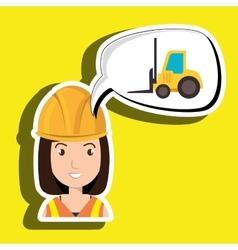 Woman construction tool gears vector