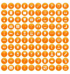 100 medical treatmet icons set orange vector