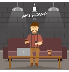 Hipster in coffee shop design vector