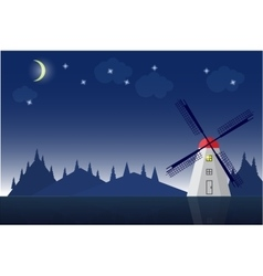Windmill in mountain landscape vector image