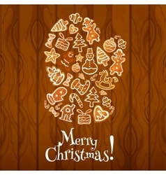 Gingerbread santa glove christmas card design vector