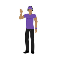 Cartoon icon referee in violet and black uniform vector